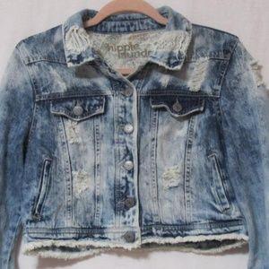 Hippie Laundry Cropped Distressed Jean Jacket L